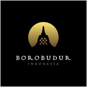 ボロブドゥール石寺のインドネシア遺産のシルエットのロゴ