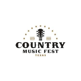 Кантри музыка вестерн ретро шаблон логотипа