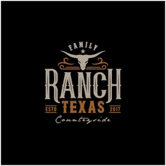 Техасский лонгхорн, винтажный дизайн логотипа в стиле кантри булл скот