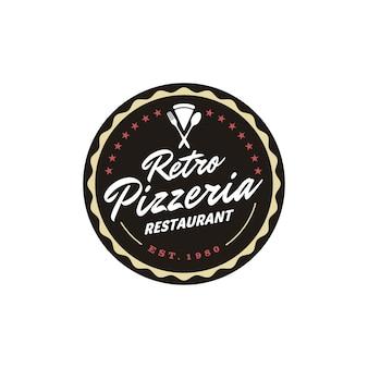 Урожай ретро пиццерия пиццерия ресторан этикетка эмблема наклейка значок логотип