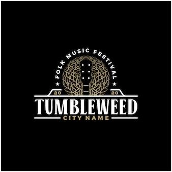 ネガティブスペースタンブルウィードギターカントリーミュージックウエスタンヴィンテージレトロサルーンバーカウボーイのロゴデザイン