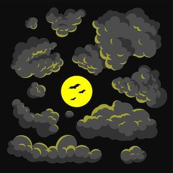 暗い雲の漫画スタイルのベクトルのイラストの背景