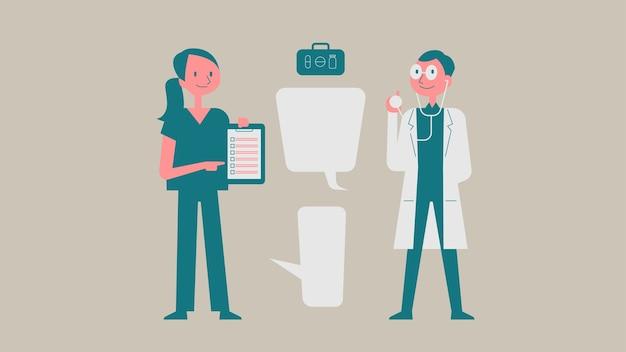 医者と看護師の文字ベクトル