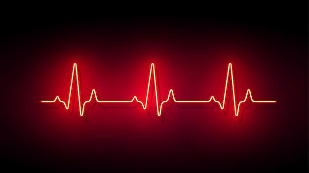 Неоновый свет сердце формы импульса фон