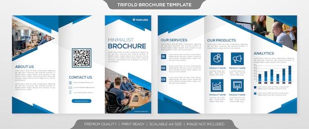 Шаблон брошюры бизнес тройной с чистым минималистским стилем
