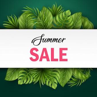 昇進のための熱帯の葉と夏の販売のバナー
