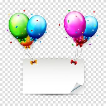カラフルな誕生日風船と色付きの紙吹雪