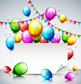 パーティーの誕生日のバルーンと紙吹雪