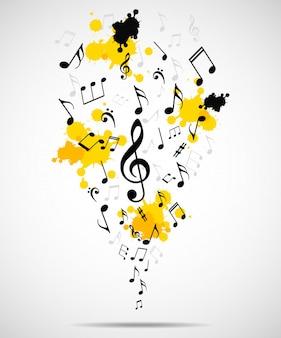 Абстрактный музыкальный фон с заметками