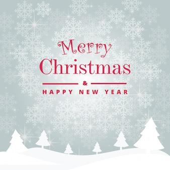 メリークリスマスと幸せな新年は美しい雪片で覆われています。ベクターテンプレートバックグラウンド