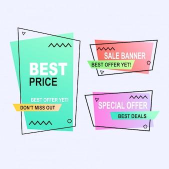 平らな幾何学的メンフィスベクトルバナースタイルのセットです。割引オファー価格ラベル、販売促進マーケティング
