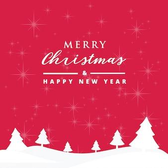 美しい雪の背景を持つメリークリスマスと幸せな新年カード