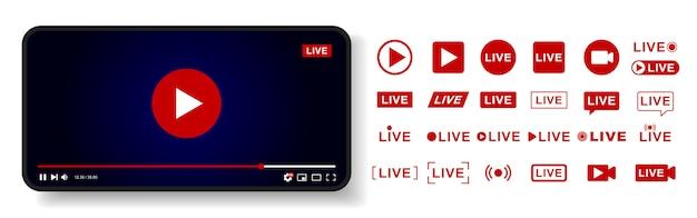 ビデオプレーヤーテンプレートのデザイン。ライブストリームウィンドウ、プレーヤー。ソーシャルメディアの概念。