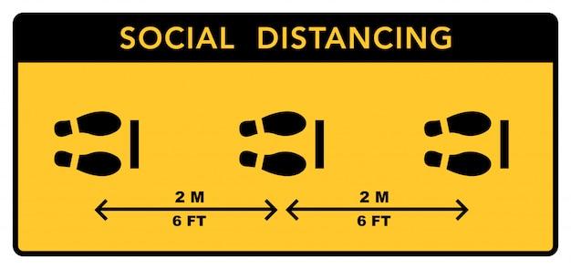 Социальный дистанцирующий баннер. держите расстояние в два метра. коронавирусная эпидемия защитная.