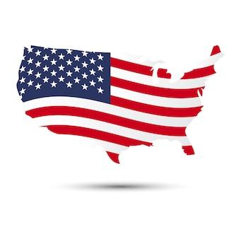 Карта сша и флаг