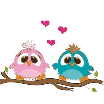 鳥のかわいいカップル