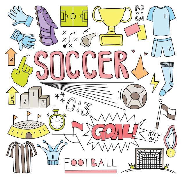 サッカーボール、落書き、ベクトル、イラスト