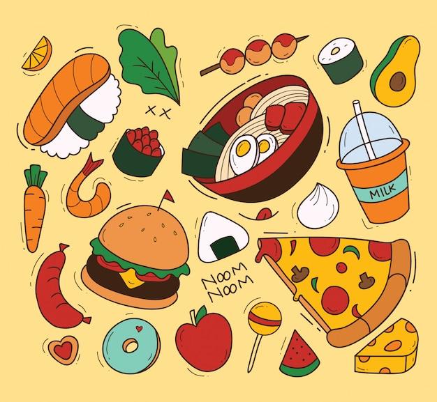 食べ物のイラストレーションのイラストレーションのセット