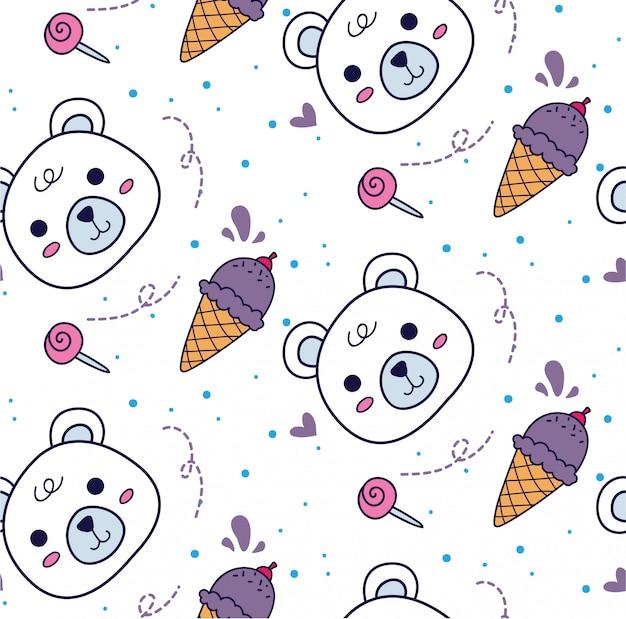 Детское постельное белье бесшовный фон с медведем и мороженым