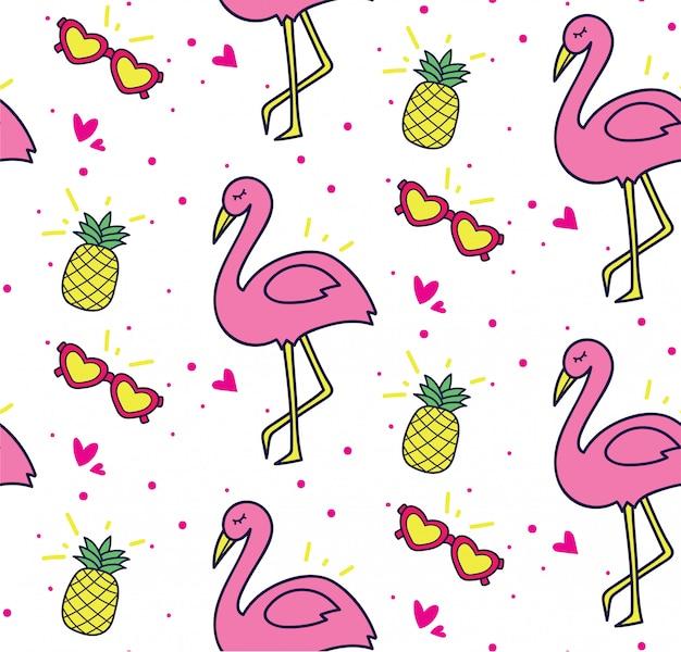 Летний тематический фон с экзотическим фламинго