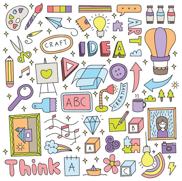 創造的なアイデアの落書きセットベクトルイラスト