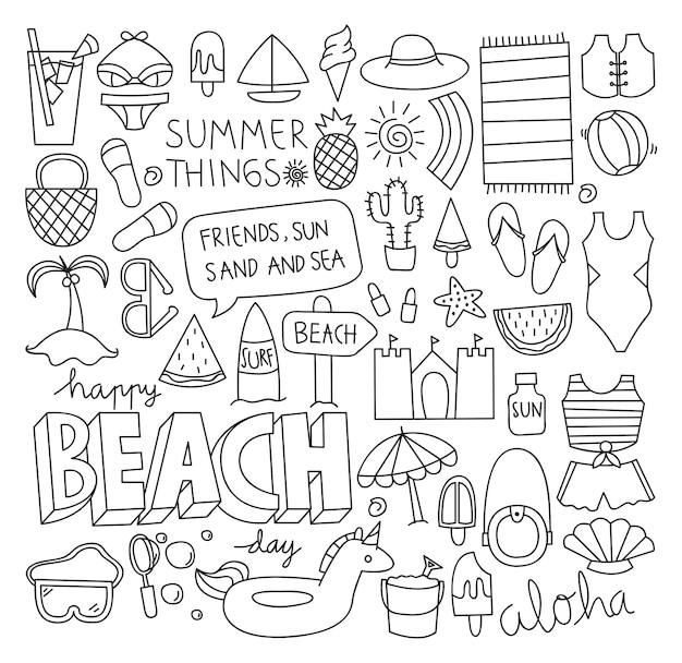 夏の落書きセットベクトルイラスト