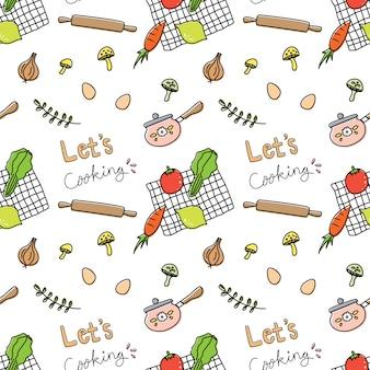 Кулинария каракули бесшовные фон векторные иллюстрации