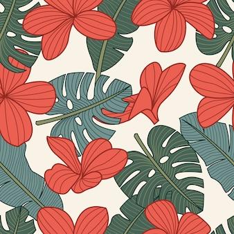 熱帯の花とのシームレスな花柄
