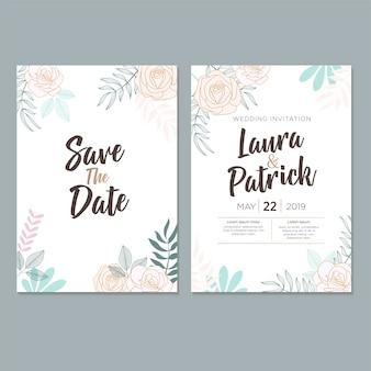 結婚式招待状のテンプレート、葉&花柄のデザイン
