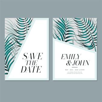 結婚式の招待カードの葉のテンプレート