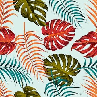 熱帯の葉のシームレスなパターンデザイン