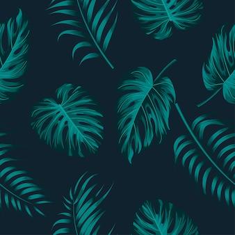 葉と花のシームレスなパターン