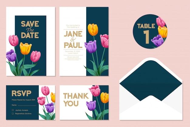 葉&花の背景を持つ結婚式の招待カード
