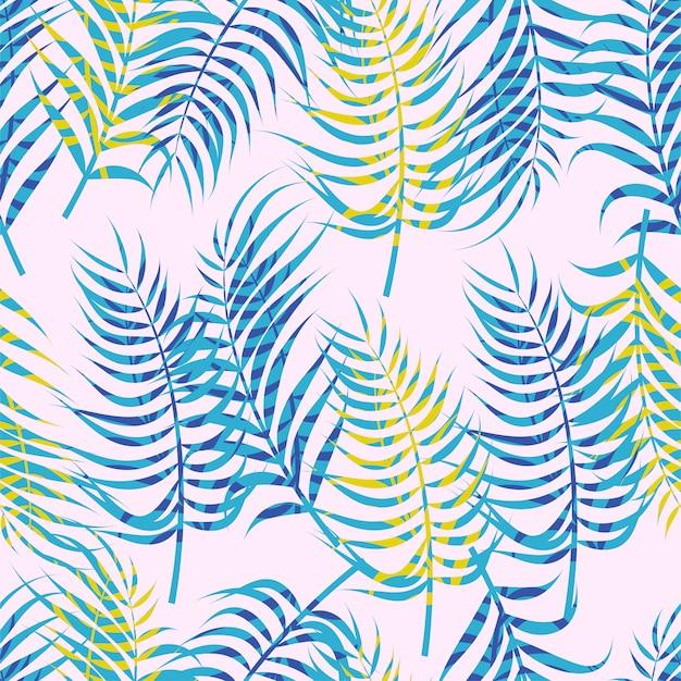 Абстрактный цветочный бесшовный узор с листьями.