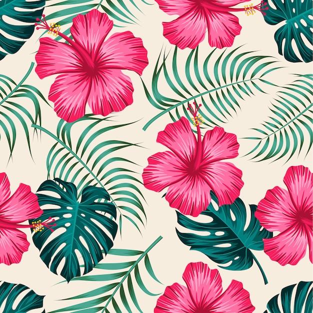 葉と花のシームレスなパターン。トロピカルデザイン