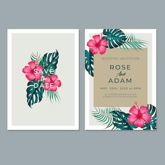 葉&花柄のデザインの結婚式の招待カードテンプレート