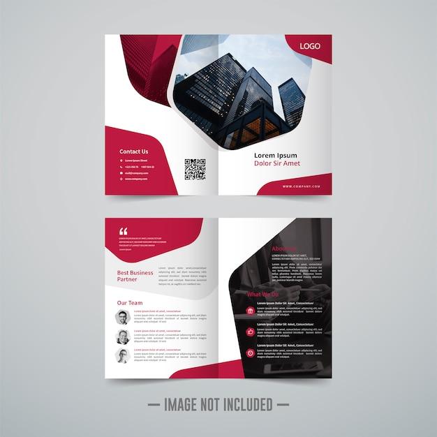 二つ折りパンフレットデザインテンプレート