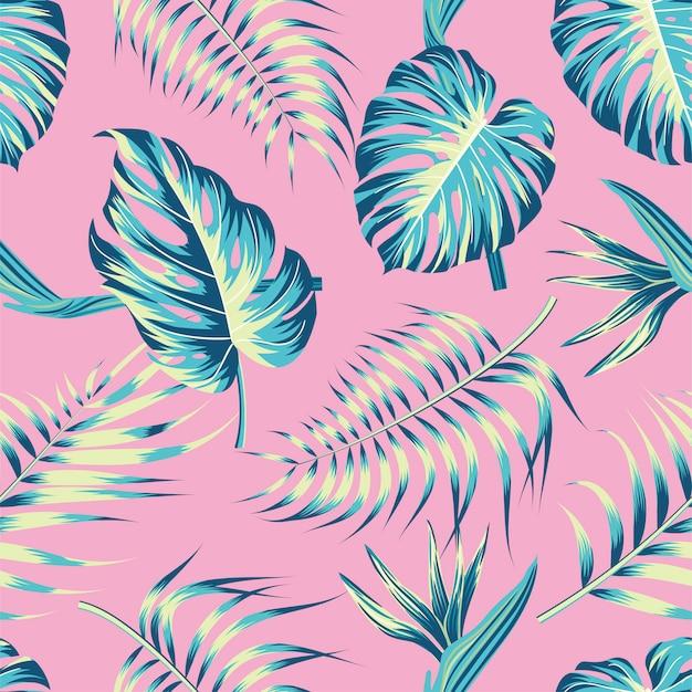 葉と花のシームレスなパターン。熱帯の背景