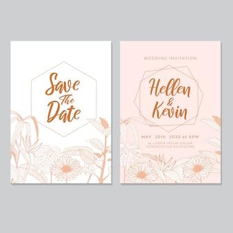 結婚式招待状テンプレート、葉&花の背景