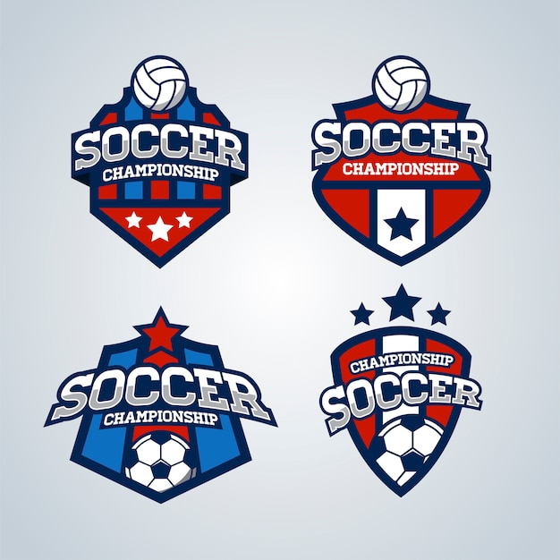 サッカーサッカーバッジロゴテンプレートセット