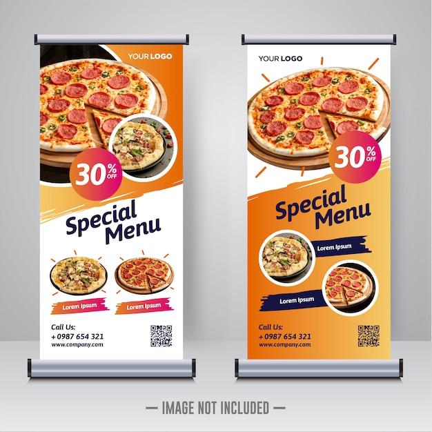 Еда и ресторан свернуть баннер дизайн шаблона