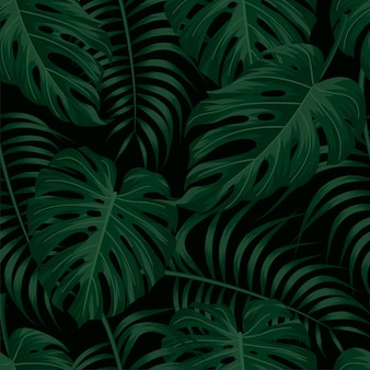 Цветочный фон с тропическими листьями