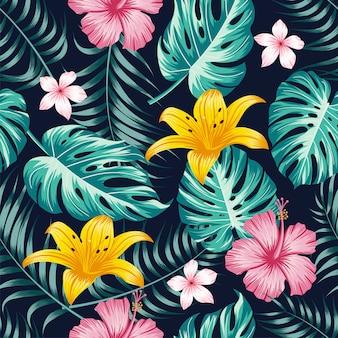 Цветочный бесшовный узор с листьями