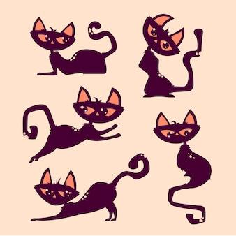 ハロウィーンの猫かわいいジャンプポーズ