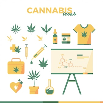 大麻フラットアイコンイラスト