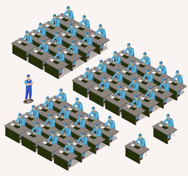 工場労働者は等尺性である。電子工場でのはんだ付け作業