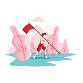 インドネシアの旗を飛ばす