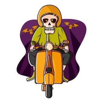 Скелет в веспе в хэллоуин