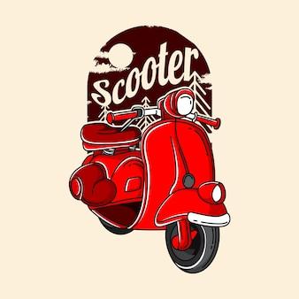 Иллюстрация красный скутер