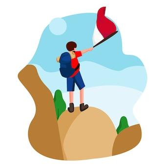 День независимости индонезии с плоским иллюстрация